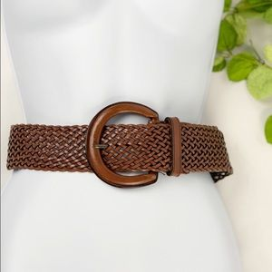 Banana Republic Brown Leather Wide Woven Boho Belt